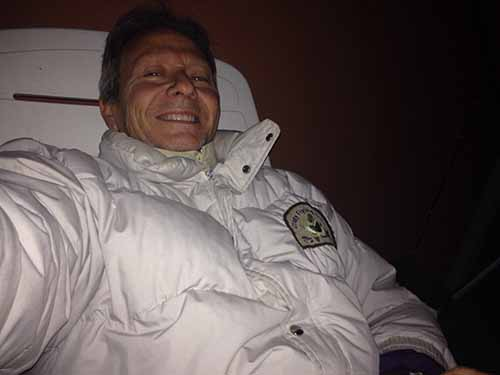 Pepe Plana, enfundado en su anorak de plumas de either.